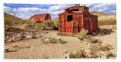 Beach Towel featuring the photograph Old Caboose At Rhyolite by James Eddy