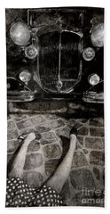 Beach Towel featuring the photograph Old Car And The Girl. by Andrey  Godyaykin