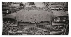 Old Car City In Black And White Beach Towel