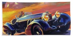 Old Car Racing Beach Towel