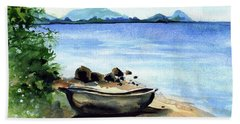 Beach Towel featuring the painting Old Carved Boat At Lake Malawi by Dora Hathazi Mendes
