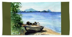 Beach Sheet featuring the painting Old Carved Boat At Lake Malawi by Dora Hathazi Mendes