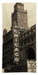 Old Chicago Theater - Vintage Art Beach Sheet
