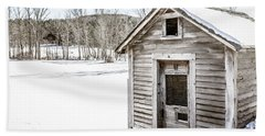 Old Chicken Coop In Winter Beach Sheet by Edward Fielding