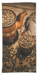 Old Coffee Brew House Beans Beach Towel