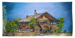 Beach Sheet featuring the painting Old Cottage by Andrzej Szczerski