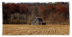 Old Country Barn In Autumn #1 Beach Towel