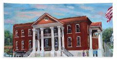 Beach Sheet featuring the painting Old Courthouse In Ellijay Ga - Gilmer County Courthouse by Jan Dappen