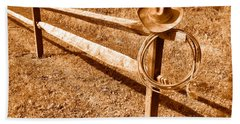 Old Cowboy Hat On Fence - Sepia Beach Towel