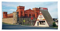 Old Deer Lodge Prison, Downtown, Vintage Beach Towel