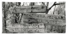 Old Directional Signs At Fort Cooper  Beach Sheet by Debra Forand