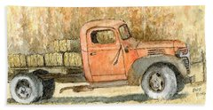 Old Dodge Truck In Autumn Beach Towel