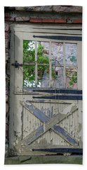 Beach Towel featuring the photograph Old Door From Bridgetown Millhouse Bucks County Pa by Bill Cannon