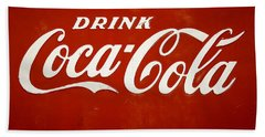 Beach Towel featuring the photograph Old Drink Coca-cola Sign by Marilyn Hunt