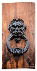 Old Face Door Knocker Beach Towel