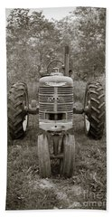 Beach Towel featuring the photograph Old Farmall Tractor Springfield New Hampshire Sepia by Edward Fielding