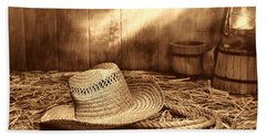 Old Farmer Hat And Rope Beach Towel