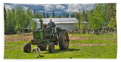 Old Farmer Old Tractor Old Dog Beach Sheet