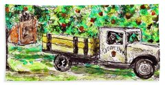 Beach Towel featuring the painting Old Farming Truck by Monique Faella