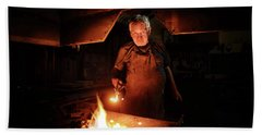 Old-fashioned Blacksmith Heating Iron Beach Towel