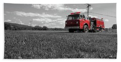 Old Fire Engine Deerfield Ma Beach Towel