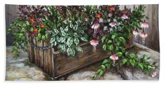 Old Flower Box Beach Towel by Kim Lockman