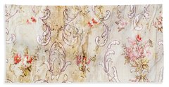Beach Towel featuring the photograph Old Flowered Wallpaper by Sue Smith