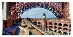 Old Fort Point Lighthouse Under The Golden Gate Beach Sheet