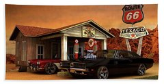 Old Gas Station American Muscle Beach Towel by Louis Ferreira