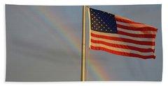 Old Glory And Rainbow Beach Towel