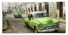 Old Green Car Beach Towel