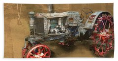 Old Grey Tractor Beach Towel