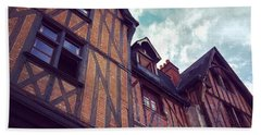 Old Half-timbered Houses In Tours, France Beach Towel