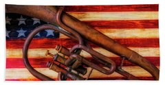 Old Horn On American Flag Beach Towel