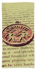 Old Horoscope Of Gemini Beach Towel