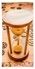 Old Hourglass Near Clock Gears On Old Map Beach Towel