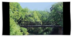 Beach Towel featuring the photograph Old Iron Bridge Over Caddo Creek by Sheila Brown