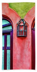 Beach Towel featuring the photograph Old Lamp Between Windows by Gary Slawsky