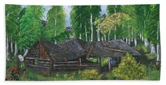Beach Towel featuring the painting Old Log Cabin And   Memories by Sharon Duguay