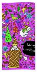 Old Man In The Peanut Merry Christmas Beach Towel by Ismael Cavazos