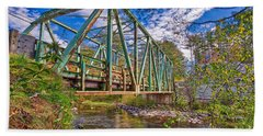 Beach Towel featuring the photograph Old Metal Truss Bridge Newport New Hampshire by Edward Fielding