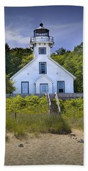 Old Mission Point Lighthouse In Grand Traverse Bay Michigan Number 2 Beach Sheet by Randall Nyhof