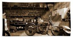 Old Motorcycle Shop Beach Towel