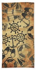 Old Nautical Parchment Beach Towel