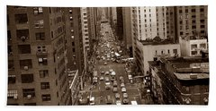 Old New York Photo - 10th Avenue Traffic Beach Towel