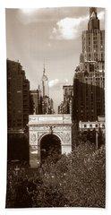 Washington Arch And New York University Beach Towel