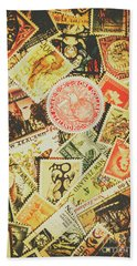 Old New Zealand Stamps Beach Towel