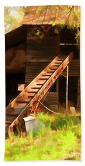 Beach Towel featuring the photograph Old North Carolina Barn And Rusty Equipment   by Wilma Birdwell