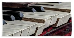 Beach Towel featuring the photograph Old Organ Keys by Michal Boubin