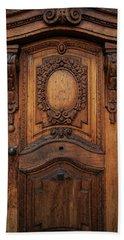 Old Ornamented Wooden Doors Beach Sheet by Jaroslaw Blaminsky